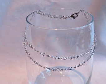 """9 3/8"""" Double Silver Chain Anklet"""