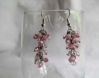 Pink Cluster Earrings on Silver Earwires