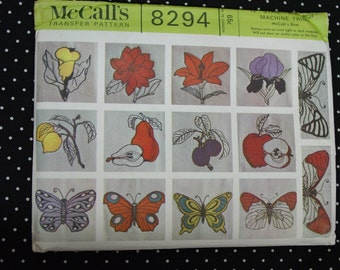 Vintage Pattern c.1966 McCall's No.8294 Stamp n Stitch Machine Transfers Flowers Butterflies Uncut