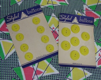 2 Cards Vintage Buttons, Yellow in 2 Sizes