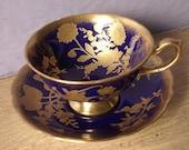 RARE Vintage Hammersley cobalt blue and gold tea cup set, English tea cup and saucer, blue tea cup, bone china tea set, blue wedding gift