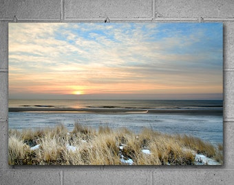 Metal Print Winter Beach Sunrise Hanging Wall Art, Nature Photography, Various sizes available, Ready to Hang Art