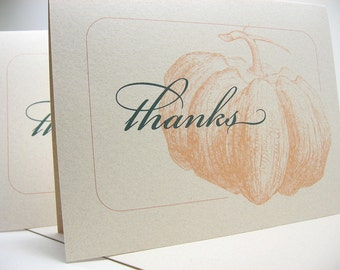 Thank You Note Card Pumpkin Blank Note Card Orange Fall Wedding Thank You Custom Personalized Card