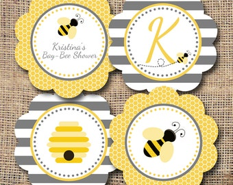 Printable Mom to BEE  Baby Shower Cupcake Toppers/Party Circles