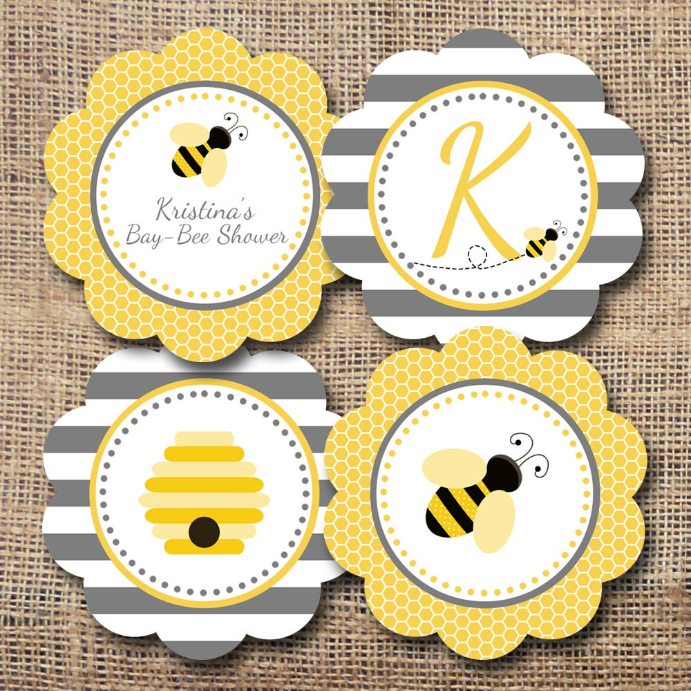 Printable mom to bee baby shower cupcake toppers party for Baby shower cupcake picks decoration