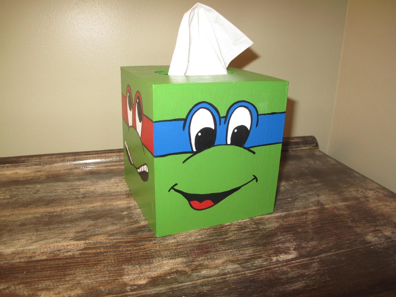 Hand Painted Ninja Turtle Tissue Box Cover