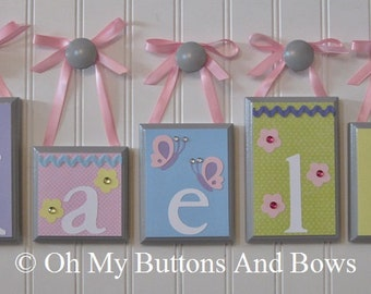 Wall Letters . Nursery Room Decor . Personalized Name . Custom Name Decor . Baby Name Blocks . Pastel . Flowers . Butterflies