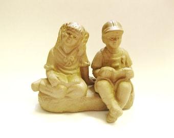 Vintage Boy and Girl figurine-Shekwan mudware- Bonsai and Aquarium decor