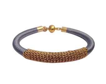 Gold and Gray Knitted Silk Bracelet