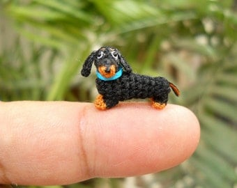 0.6 Inch Miniature Dachshund Sausage Dog Amigurumi - Tiny Crochet Black Brown Dog Dachshunds - Made To Order