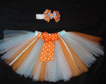 Finding Nemo inspired tutu set, custom made any size Newborn-4t