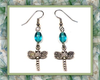 Teal Dragonfly Earrings (Clip-On by Request)