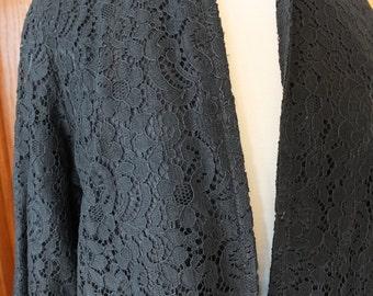 Black lace 1960s sheath coat wedding perfect wrap for your wedding dress