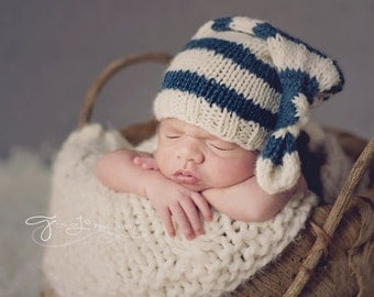 Blue/Cream Stripe Stocking Hat- Newborn