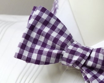 Mens bow tie / purple freestyle bowtie - adjustable self tie - just bow ties for men / I am a maker of bespoke bowties - Bagzetoile