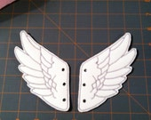 White Faux Leather with Gray Stitching Percy Jackson Inspired Shoe Wings