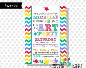 Printable Colorful Rainbow Art Paint Party Birthday Invitation- Digital File