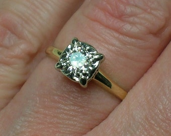 1940s Diamond Solitaire, Classic Mid Century Halo, Two Tone 14K Gold. Illusion Head. Size 5