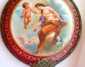 GORGeous Enameled Antique Mirror with Detailed Hand Painted Enameled Cherub Mother Sterling Silver Signed
