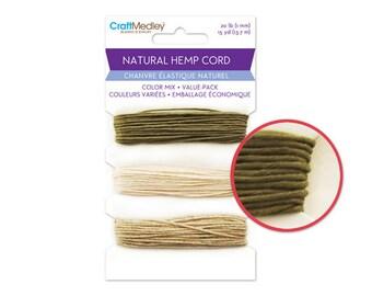 Natural Hemp Cord: Color Mix Value-Pack 20lb (1mm) 15yds