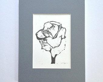 Original Linocut Rose Flower Art 4 x 6 Hand Pulled Block Print - Metallic Gray Rose Flower with 8 x 10 Gray Mat - home decor, wall decor art