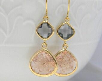 Peach Dangle Earrings- Peach and Gray  Earrings- Peach Wedding  Earrings- Dangle Peach and Gray Earrings- Bridal Earrings-  Bridesmaid Gift