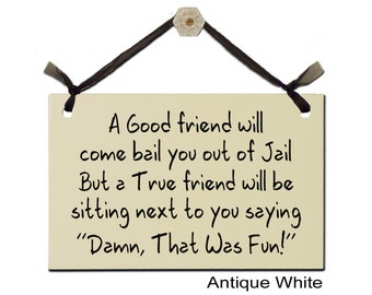 """A Good Friend will come bail you out of Jail - But a True Friend will be sitting next to you saying """"Damn, That Was Fun!"""""""
