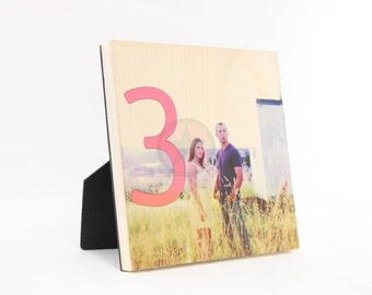 WEDDING TABLE NUMBERS- Personalized Photo Blocks -Printed into the Wood- Custom Table Numbers-Centerpieces-Place Cards