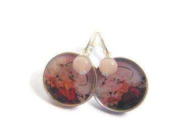 Dusty Pink Beaded Pastel Flower Earrings