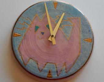 Crazy Pink Cat Clock