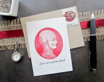 1202 : Letterpress Just Because Card, Complicated Card, Blank Card, Letterpress Card
