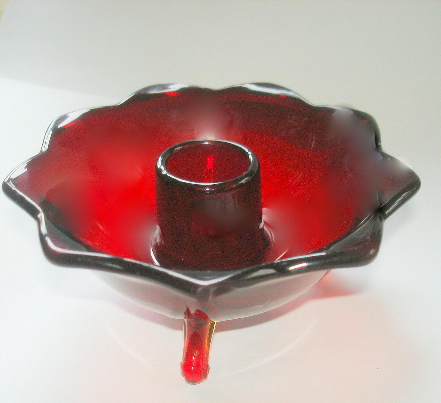 red amberina glass candle holder candlestick vintage fluted. Black Bedroom Furniture Sets. Home Design Ideas