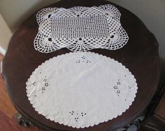 Wonderful Handmade Crocheted Doily and Linen Doily