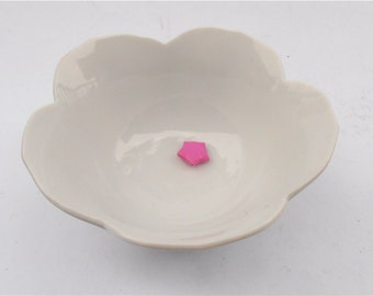 Vintage White Lotus Bowl Dipping Deep Finger Pottery Glossy Ceramic Condiment Relish Fancy Serving Dish Catchall Novelty Plain Solid Color