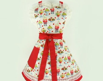 Red Cherries,  Sundae's, and Rootbeer Floats  Two Layer Apron
