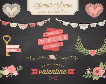 VECTOR FILES  Valentine  Design Bundle florals & Bunting - for personal or photographer use
