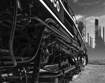 Locomotive post-apocalyptic industrial - Frisco - dark black & white train refinery factory fine art photograph