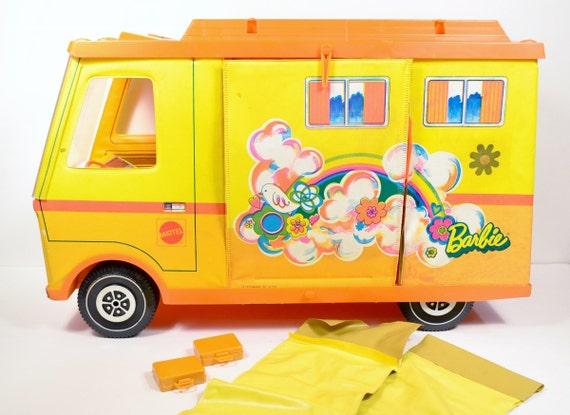Barbie Country Camper Motorhome RV Yellow Orange Mod Travel Toy Sleeping Bags 1970's