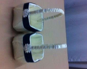 Ivory Satin  with Navy Blue Accent Flower Girl Baskets