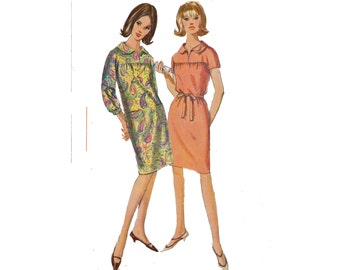 1960s Vintage Dress Sewing Pattern with yoke front and back kimono sleeves and belt option Size 18 Bust 38 Simplicity 6307 from 1965 60s
