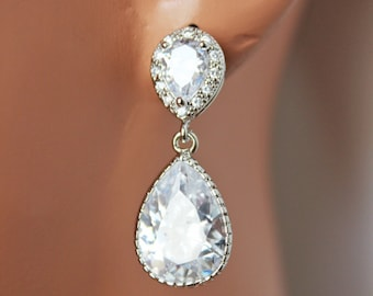 Pear Cut CZ Wedding Earrings. Vintage Cubic Zirconia Pear Drop Bridal Earrings. Rhinestone Earrings. Wedding Jewelry