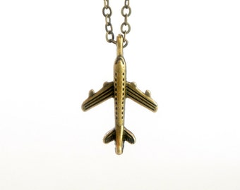 Tiny Plane - Vintage Style Antiqued Brass Necklace - C0040