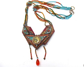 Stunning 80's Jeweled Hand Made Long Boho Necklace