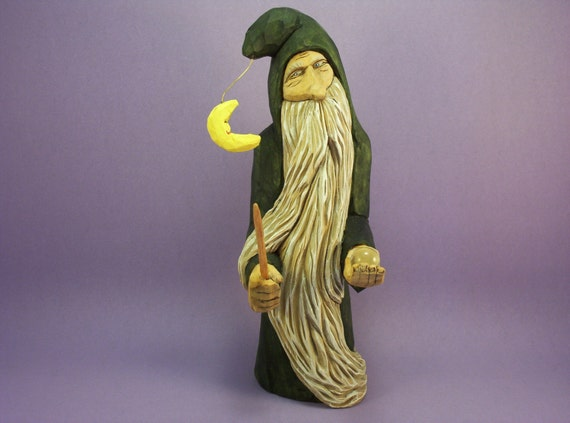 Hand carved wizard wood carving OOAK collectible figurine gift with magic wand & crystal ball hand made in Wisconsin by Old Bear Woodcarving