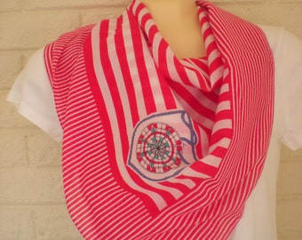1980s Red and White Striped Sailor Girl Scarf, New Old Stock