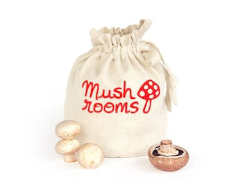 MUSHROOMS: Handmade reusable eco friendly kitchen storage solution. Handprinted hemp organic cotton canvas tote. Kitchen tidy. Shopping bag.