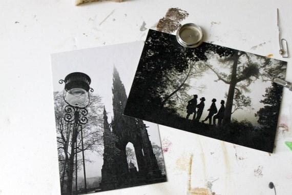Vintage Gothic inspired postcard set, Ghosts - Set of 8 postcards