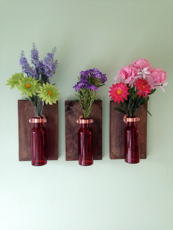 Items similar to red colored glass bottles wall decor on etsy for Colored bottles for decorations