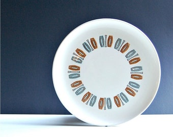 1960s Taylor Smith Taylor Pair Of Mid Mod Java Key Dinner Plates Classic 60s Fare Midcentury Style Graphics Coffee Teal Color Craft