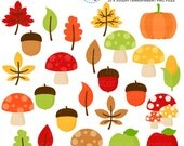 Fall Harvest Clipart Set - clip art set of leaves, acorns, pumpkin, mushrooms, apples - personal use, small commercial use, instant download